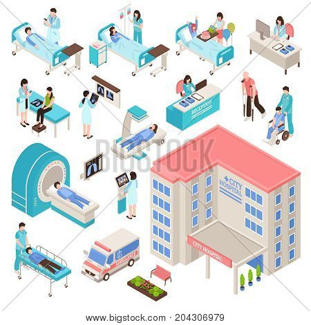Hospital isometric set with people equipment and building service isolated vector illustration