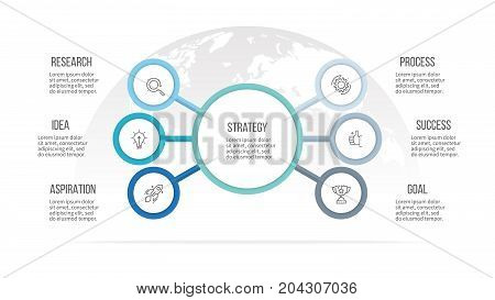 Business infographic. Organization chart with 6 options. Vector template.