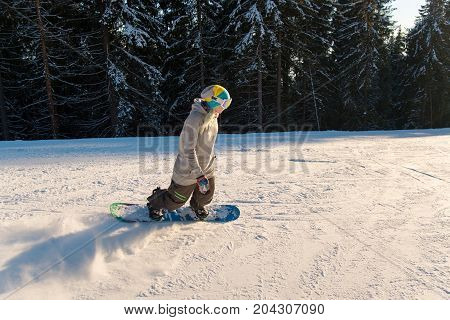 Female Snowboarder Riding The Slope Nature Winter Sports Active Lifestyle Recreational Leisure Resor