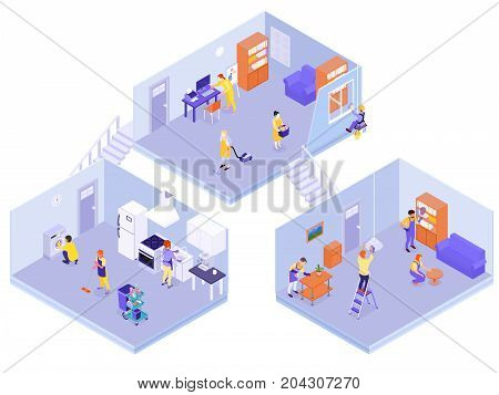 Interior home professional cleaning team service isometric composition with floors washed disinfected carpets rugs vacuumed vector illustration