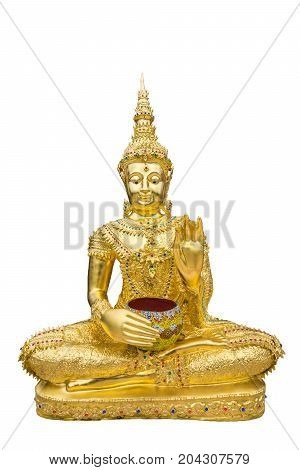 Golden Buddha image with alms bowl in isolated white background