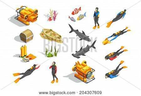 Scuba diving snorkelling isometric icons with isolated human characters wet suit equipment bathyscaph and  ground objects vector illustration