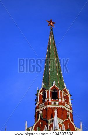 Tower of Moscow Kremlin. UNESCO World Heritage Site. Color photo. Blue sky background.