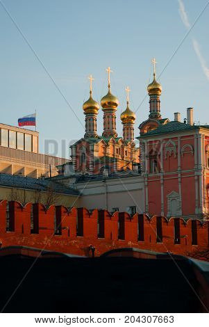 Moscow Kremlin. UNESCO World Heritage Site. Color photo. Blue sky background.