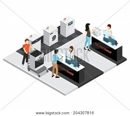 Household appliances shop design composition with kitchen equipment isometric  icons buyers and sellers vector illustration