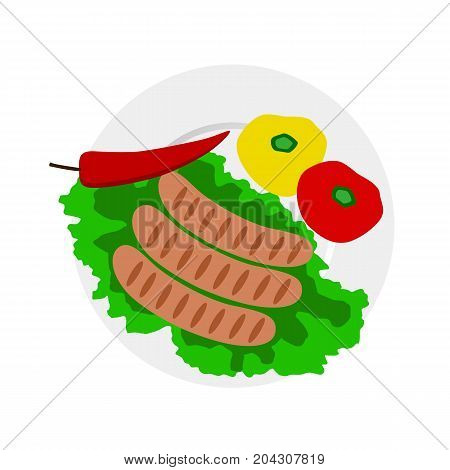 Dinner time. Dish. From above Sausages Vector illustration