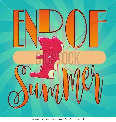 end of summer banner square vector design