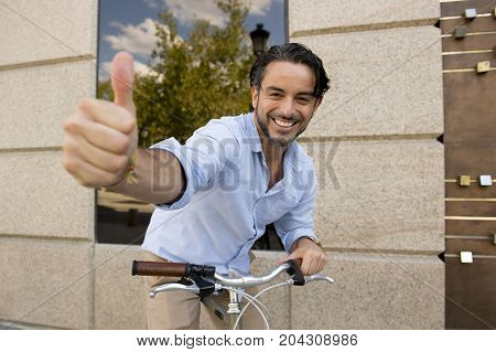 Young Happy Man Smiling Posing Cool With Vintage Cool Retro Bicycle