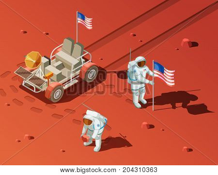 Astronauts space planet exploration isometric composition of extraterrestrial landscape with rover and two space voyagers planting flag vector illustration