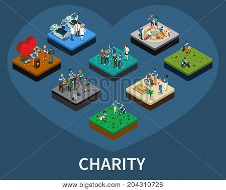 Set of isometric volunteer and charity organisations related compositions isolated vector illustration