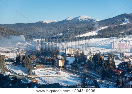 Shot Of A Ski Resort In The Mountains On A Sunny Winter Day Nature Travel Tourism Concept