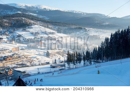 Shot Of A Village On A Sunny Winter Day In The Morning Nature Beauty Calamity Peace Ski Travel Touri