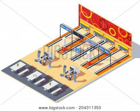 Bowling center isometric interior with game equipment including balls in return system, tables for visitors vector illustration