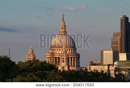The view of the dome of Saint Paul's Cathedral City of London United Kingdom.