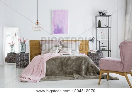 Pink Accessories In White Bedroom