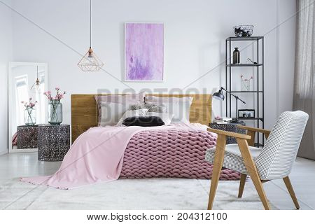 Pastel Bedroom With Watercolor Painting