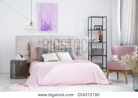 Metal Nightstand Next To Bed