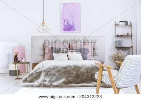 King-size Bed With Beige Bedhead