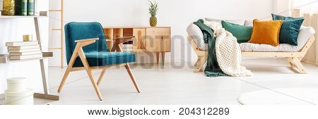 Blue Vintage Chair In Room