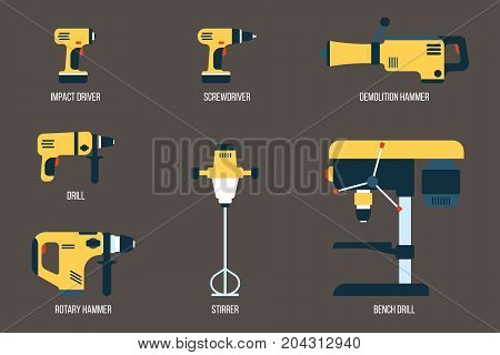 Vector set of power tools for drilling screwing and mixing purposes. Electric equipment for construction. Flat style.