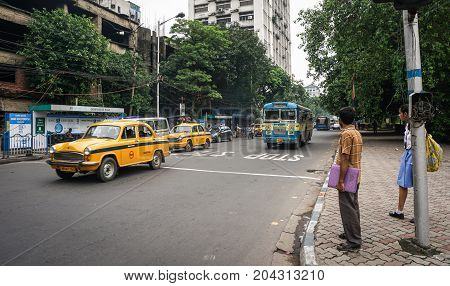 Traffic On Street At Downtown In Kolkata, India