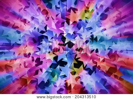 Holiday background in 3d consisting of colorful stars