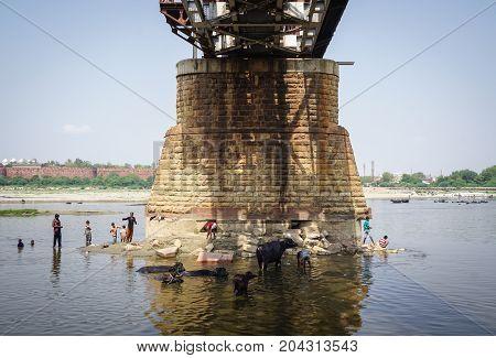 Steel Bridge At Sunny Day In Agra, India