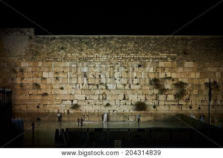 A spectacular view on The Western Wall on sabbath at night.