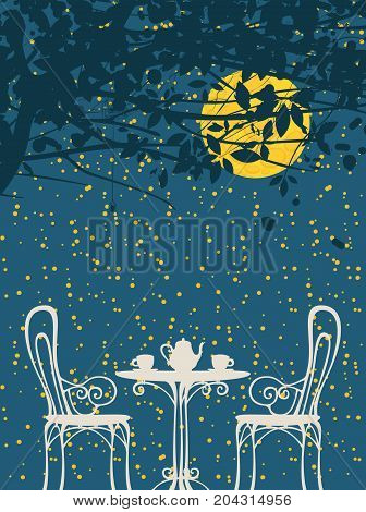 Vector night landscape in retro style with furniture of street cafe two cups and teapot on the background of night starry sky with the big moon