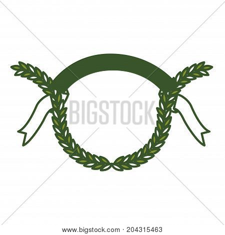 green color olive branches and ribbon on top vector illustration