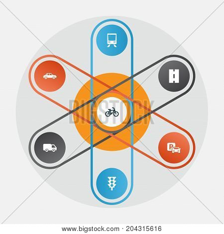 Shipment Icons Set. Collection Of Bicycle, Automobile, Railway And Other Elements