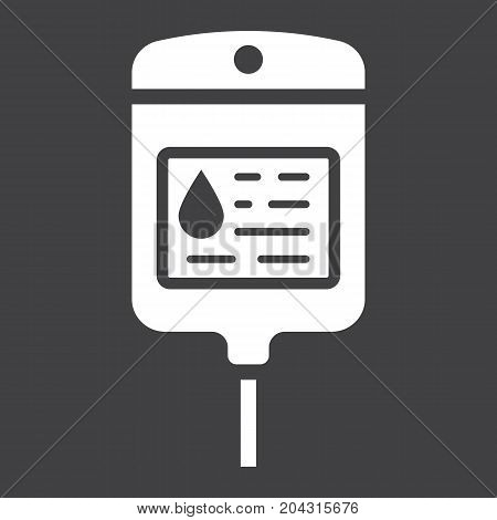Iv bag glyph icon, medicine and healthcare, drop counter sign vector graphics, a solid pattern on a black background, eps 10.