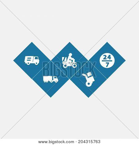 Collection Of Service, Lorry, Shipping And Other Elements.  Set Of 5 Shipment Icons Set.