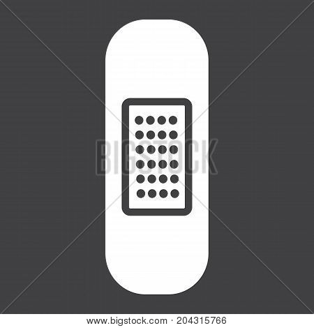 Adhesive plaster glyph icon, medicine and healthcare, bandage sign vector graphics, a solid pattern on a black background, eps 10.
