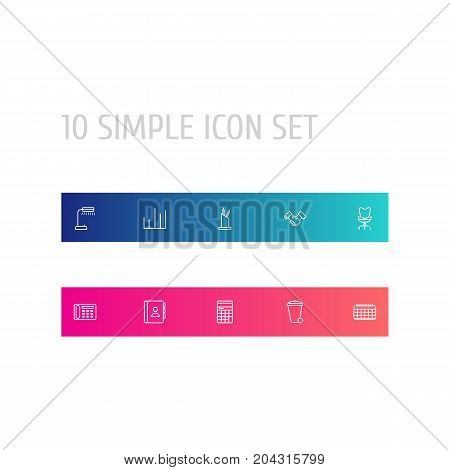 Collection Of Recycle Bin, Reading-Lamp, Date And Other Elements.  Set Of 10 Bureau Outline Icons Set.