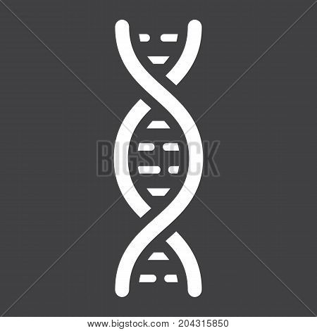 DNA glyph icon, medicine and healthcare, genetic sign vector graphics, a solid pattern on a black background, eps 10.