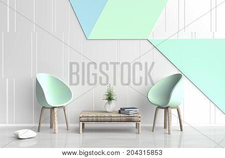 White-green room are decorated with two green chair, tree in glass vase, white pillows, Blue book, white and green cement wall it is grid pattern and the white cement floor. 3d rendering.