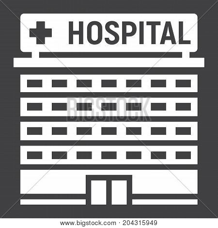 Hospital building glyph icon, medicine and healthcare, architecture sign vector graphics, a solid pattern on a black background, eps 10.