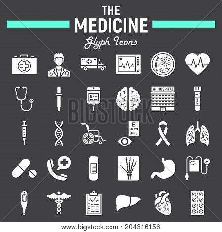 Medicine glyph icon set, medical symbols collection, healthcare vector sketches, logo illustrations, anatomy signs solid pictograms package isolated on black background, eps 10.
