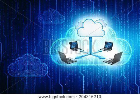 3d rendering Cloud computing concept, cloud network, cloud sharing concept