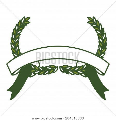 green olive branches bow and ribbon on bottom vector illustration