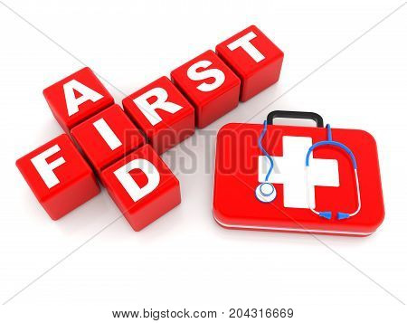 first aid cubes 3d crossword, Stethoscope and First Aid Kit isolated - 3D Render