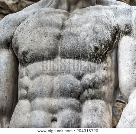 Detail of chest of Hercules statue in Florence Italy