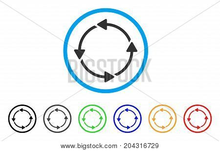 Circular Route icon. Vector illustration style is a flat iconic circular route gray rounded symbol inside light blue circle with black, gray, green, blue, red, orange color versions.