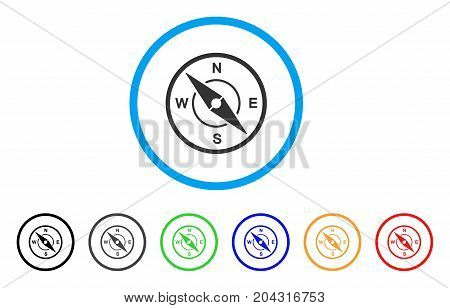 Compass icon. Vector illustration style is a flat iconic compass grey rounded symbol inside light blue circle with black, gray, green, blue, red, orange color variants.