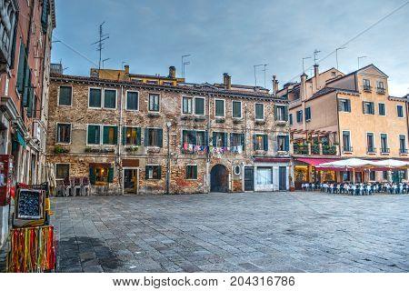 a rustic square in Venice in Italy