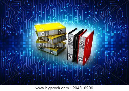 3d illustration of archive folders stack in digital background