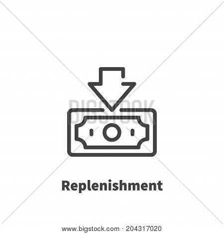Replenishment of bank account Money icon vector symbol in line style isolated on white background. Editable stroke 48x48 pixel perfect.