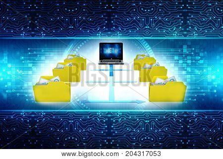 3d illustration of Data sharing concept. folder network concept
