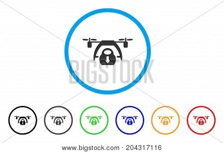 Drone Unloading icon. Vector illustration style is a flat iconic drone unloading gray rounded symbol inside light blue circle with black, gray, green, blue, red, orange color additional versions.